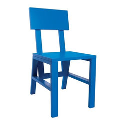 STAACH - Cain Collection Chair, Set of 2, Blue - Designed by Seth Eshelman. Part of the Cain Collection. All finishes are Lead-free, HAPS free, low to no VOC and water borne/soluble. Seat height: 17.5-inches, Seat depth: 15.75-inches.