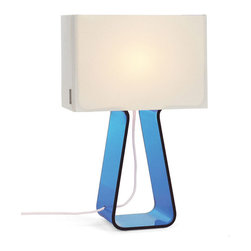 Pablo - Tube Top Lamp, Sky Blue - Step aside lava lamps: Colorful, candy-like, small table lamps are now the life of your party. A rainbow of base color choices and misty translucent shades create a fun and functional item that electrifies any room! How about a colorful bowl of jellybeans to round out the picture?