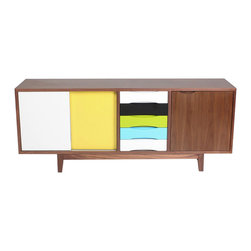 NyeKoncept - Kelda Sideboard - The name Kelda means Spring, and we believe that this sideboard will truly bring the year's most joyful season in any room. The colorful drawers and sliding doors will definitely make some of your friends jealous but it will keep them coming back to take another peak. The beautiful and clean edge design revealed in the five colored drawers, in the smooth sliding doors, and in the adjustable shelves, prove how practical this unique piece of furniture actually is.