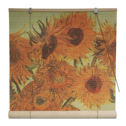 Oriental Furniture - Sunflowers Bamboo Blinds - 72 Inch, Width - 72 Inches - - These stunning bamboo matchstick blinds feature the famous image of Vincent Van Gogh's  Sunflowers  painting.  Available in five convenient sizes.   Easy to hang and operate.  Available in five sizes, 24W, 36W, 48W, 60W and 72W.  All sizes measure 72 long. Oriental Furniture - WTCL09-0503-72