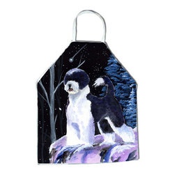 Caroline's Treasures - Starry Night Portuguese Water Dog Apron - Apron, Bib Style, 27 in H x 31 in W; 100 percent  Ultra Spun Poly, White, braided nylon tie straps, sewn cloth neckband. These bib style aprons are not just for cooking - they are also great for cleaning, gardening, art projects, and other activities, too!
