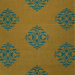Jaipur Rugs - Flat-Weave Moroccan Pattern Wool Blue/Red Area Rug ( 3.6x5.6 ) - An array of simple flat weave designs in 100% wool - from simple modern geometrics to stripes and Ikats. Colors look modern and fresh and very contemporary.
