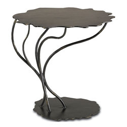 Currey and Company - Serengeti Occasional Table - Inspired by the Acacia trees popular in African landscapes and made of solid wrought iron, the Serengeti Accent Table plants itself firmly wherever it needs to go.