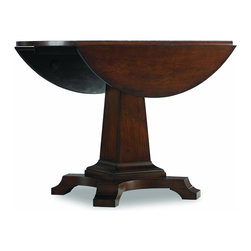 "Hooker Furniture - Abbott Place Round Drop Leaf Pedestal Dining Table - White glove, in-home delivery included!  Abbott Place takes a fresh spin on traditional styling for a look that blends the best of classic American influences with fresh, updated design.  Concave shaping on the Round Drop Leaf Pedestal Dining Table creates energy and movement in a rich, warm cherry finish.  This table offers a crisp, smart design of good taste for style flavors ranging from new American mix to casual transitional.  Two 10"" drop leaves.  Leaves in down position: 42"" w x 22"" dx 30"" h  Leaves in up position: 42"" dia. x 30"" h   Diameter at base: 29""  Distance from floor to bottom of top: 29"""