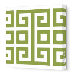 "Avalisa - Pattern - Big Square Stretched Wall Art, 12"" x 12"", Grass - Bold color against white and a great big graphic — so simple, yet so powerful. You'll make a style statement wherever you hang this piece."