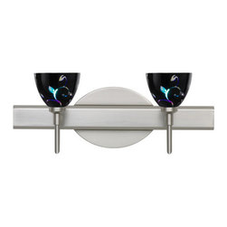 Besa Lighting - Besa Lighting 2SW-1858VB Divi 2 Light Reversible Halogen Bathroom Vanity Light - Divi has a classical bell shape that complements aesthetic, while also built for optimal illumination. Our Black Dicro Vine glass is a blown glass featuring a stylized floral design against a black glossy outside, and a technologically advanced dichroic coating applied to the inside. The coating contains multiple micro-layers of metals that create unique optical properties, which effectively alter both the reflected and transmitted light. So unlit, it appears like a mirror; when lit, it becomes translucent with an array of multicolored blue-purple effects. The vanity fixture is equipped with decorative lamp holders, removable finials, linear rectangular housing, and a removable low profile oval canopy cover.Features: