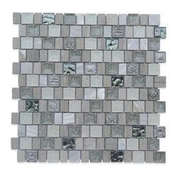 GlassTileStore - Sample-Lotus Ivory Tusk Glass and Stone Tile Sample - Sample-Lotus Ivory Tusk Glass and Stone Tile Sample   Samples are intended for color comparison purposes, not installation purposes.    -Glass Tiles -