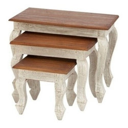 "Benzara - Wood Nested Table Set of 3 - Wood Nested Table Set of 3 24"", 18"", 12""W Accent Collection. Some assembly may be required."
