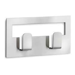 """Blomus - Blomus  Towel Hook - 2.4X4.3 - The Blomus Stainless Steel Towel Hook features a stylish design that combines functionality with a touch of elegance. The towel hook is 2.4"""" square and has a self-adhesive backing for easy installation. The stainless steel design provides accent is easy to clean and resists corrosion making it the perfect addition to your home.Single and Double hook."""