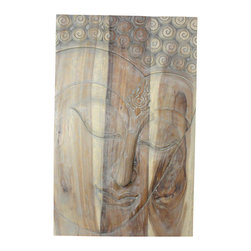 Kammika - Buddha Panel Ushnisha 24L x 36H x 5 inch Monkey Pod Wood in Livos Agate Grey Oil - This inspiring Buddha Panel Ushnisha 24 inch length x 36 inch height x approximately 5 inch thickness, including the approximately 3 inch protruding nose, Sustainable Monkey Pod Wood in Eco Friendly, Natural Livos Agate Grey Oil Finish Wall Panel presents Ushnisha, a three dimensional oval at the top of the head of the Buddha. It symbolizes his wisdom and openness as an enlightened being. The first representations of the Buddha in the 1st century represent him with a topknot, rather than a cranial knob - Buddha in the stage of achieving knowledge, Ushnisha. Carved from joined panels, the panel has two embedded flush mount Keyhole hangers on the topmost securing crossbar on the back for a protruding screw from your wall. Craftspeople in Thailand carve these wonders of wood grown for the woodcarving industry; each is a unique creation. Livos Agate Grey oil creates a water resistant and food safe matte finish. These natural oils are translucent; the wood grain detail is highlighted. The oil makes the wood turn to an antique white look with a light grey patina finish. The light portions of wood turn to shades of beige, and the dark wood lightens to shades of brown with a light transparent grey top coat over the white antique looking undercoat. We make minimal use of electric hand sanders in the finishing process. Panels are dried in solar or propane kilns. No chemicals are used in the process, ever. After each piece is carved, dried, sanded, and rubbed with Livos oil, they are packaged with cartons from recycled cardboard with no plastic or other fillers. The color and grain of your piece of Nature will be unique, and may include small checks or cracks that occur when the wood is dried. Sizes are approximate. Products could have visible marks from tools used, patches from small repairs, knot holes, natural inclusions or holes. There may be various separations or cracks on your p