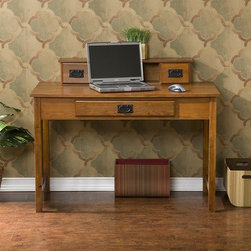 Wildon Home � - Alma Computer Desk - Features: -Francisco desk.-Has drawer on either side for small knick knacks.-Three cubby spaces in the center for small desk top items.-Main drawer serves dual purpose by having fold down front that allows use of keyboard.-Asian hardwoods, veneer and MDF construction.-Distressed: No.Dimensions: -Organizer dimensions: 6'' H x 34'' W x 6'' D.-Cubbies dimensions: 5'' H x 5'' W x 5'' D.-Drawers dimensions: 3.5'' H x 6'' W x 3.5'' D.-Keyboard drawer dimensions: 2.5'' H x 22'' W x 13'' D.-Under desk dimensions: 22.5'' H x 40'' W.-Dimensions: 35.5'' Height x 45'' Width x 23.75'' Depth.-Overall Product Weight: 62.86 lbs.Assembly: -Assembly required.