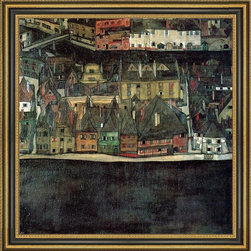 """Art MegaMart - Egon Schiele The Small City II - 16"""" x 16"""" Framed Premium Canvas Print - 16"""" x 16"""" Egon Schiele The Small City II framed premium canvas print reproduced to meet museum quality standards. Our Museum quality canvas prints are produced using high-precision print technology for a more accurate reproduction printed on high quality canvas with fade-resistant, archival inks. Our progressive business model allows us to offer works of art to you at the best wholesale pricing, significantly less than art gallery prices, affordable to all. This artwork is hand stretched onto wooden stretcher bars, then mounted into our 3 3/4"""" wide gold finish frame with black panel by one of our expert framers. Our framed canvas print comes with hardware, ready to hang on your wall.  We present a comprehensive collection of exceptional canvas art reproductions by  Egon Schiele ."""