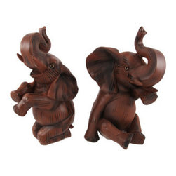 Pair of Beautiful Wood Finish Elephant Statues Figures - This beautiful pair of cold cast resin African Elephant figurines has a beautiful, polished wood-like finish. Each figure measures 8 1/4 inches tall. One is 5 inches deep, 3 3/4 inches wide, and the other is 5 1/2 inches deep, 4 3/4 inches wide. They make a great gift for elephant lovers.