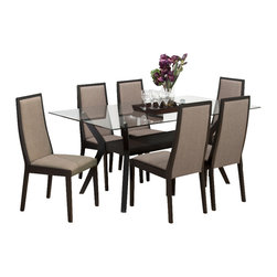 Jofran - Jofran Midtown Espresso 7 Piece 72x42 Dining Room Set - This table makes a smart addition. With an adaptable build and great looks, this table seamlessly provides both function and style. This all-inclusive table makes a needful inclusion perfect for any atmosphere. This casual side chair is a great complement for all kinds of decor styles. This simply designed side chair has a gently curved back, block legs, and upholstered back and seat. The upholstery adds to the chair's comfort as well as its durability and resilience. Rich Midtown Espresso wood finish is complemented with beige colored upholstery. What's included: Dining Table (1), Side Chair (6).