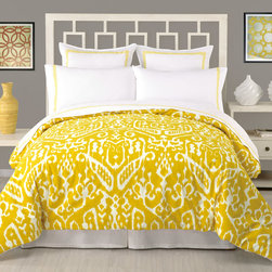 Trina Turk - Trina Turk Ikat Comforter 3 Piece Set - On-trend and outstanding, the Ikat comforter set captures Trina Turk's signature style. Its artistic pattern paired with a bright citrine yellow hue lends a modern vibrancy to the bedroom. Available in queen and king; 3-piece set includes comforter and 2 pillow shams; 100% cotton; Pillow inserts not included; Machine wash