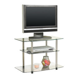 Convenience Concepts - Convenience Concepts Classic Glass TV Stand X-400751 - Designs2Go&trade: Classic Glass TV Stand is the perfect complement to any living room d&#233:cor. Featuring an open modern design that allows for easy cable management and 3 spacious glass shelves that will give you plenty of room for all of your media components.  Surely will provide years of enjoyment