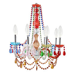 Palace Acrylic Chandelier - Infuse your room with royal light with the Palace chandelier. Introduce a regal and eye-catching sparkle as eight candle-shaped bulbs shine through the vividly colored beading. The adjustable chain helps personalize your decorating heights with this majestic piece that radiates resplendent grandeur.