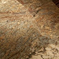 Fire Bordeaux Granite (aka Crema Bordeaux Granite - A Brazilian granite with grand horizontal movement. Rich creams, burgandy, black, gray, rose.