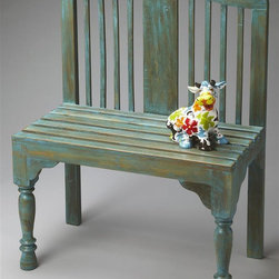 Butler - Heritage 42 in. Bench - Slatted back and seat. Meticulously turned front legs. Hand-painted. Made from natural wood. Whimsical antique finish. Made in India. Seat height: 20.25 in.. Overall: 30.25 in. L x 16 in. W x 42 in. H (137 lbs.)Bring this vintage replica park bench inside and have a seat. The buzz you create will have nothing to do with bees. The Heritage Collection represents a mastery of fine furniture craftsmanship that is uncommon today. This painstakingly produced furniture, harkening back to days when master craftsmen labored over each piece, is destined to be enjoyed for generations.