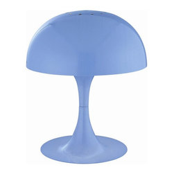 Lite Source - Table Lamp with Blue Metal Shade - Includes one bulb. Requires one 40 watt Incandescent G45 bulb. Socket type: E12. Shade top: 8 in. Dia.. Shade bottom: 8 in. Dia.. Shade height: 4 in.. Overall: 8 in. Dia. x 8.5 in. H (2.6 lbs.). Assembly Instructions