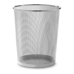Organize-it-all, Inc. - Metal Trash Can by Seville in Silver - These attractive metal mesh waste baskets are stylish and useful. They are quite sturdy and feature solid metal bases.