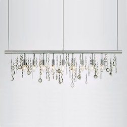 Pollyanna Suspension Light - This linear light deconstructs the typical crystal chandelier and transitions it into a contemporary piece, where each individual crystal can be more easily admired. Great for a space with clean lines that needs a bit of sparkle.