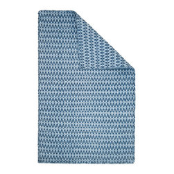 Hook & Loom Rug Company - Ashley Lt Blue/Dk Blue Eco Cotton Rug - Very eco-friendly rug, hand-woven with yarns spun from 100% recycled fiber.  Color comes from the original textiles, so no dyes are used in the making of this rug.  Hand-bound edges instead of hems, so it is 100% reversible for twice the wear. Machine wash and tumble dry. Made in India.