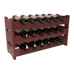 Wine Racks America - 18 Bottle Mini Scalloped Wine Rack in Redwood, Cherry Stain + Satin Finish - Stack three 6 bottle racks with pressure-fit joints for proper storage of 18 wine bottles. This rack requires no hardware for assembly and is ready to use as soon as it arrives. Makes the perfect gift and stores wine on any flat surface.