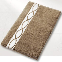 Contemporary Taupe Bathroom Rug - High quality, luxury bath rug with a contemporary design with soft spa like color tones tones.