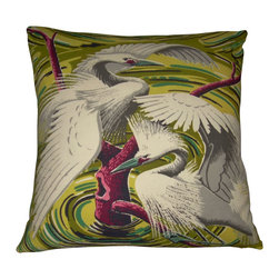 """Mid Century Home USA - Miami Beach Art Deco Pillow Cover """"Egret Swirl Gold"""" - This fabulous rare heavy, textured barkcloth pillow cover is from the  1940's. It is the """"Gold"""" version of the Egret Swirl.  Considered """"Miami Beach Art Deco"""", this pillow cover is the perfect Tropical Mid Century accent!  The colors are bright and show off this whimiscal image beautifully.  Note: Sized for 20"""" pillow insert.   The back is constructed of soft green duck cloth canvas with an envelope closure.The seams are professionally serged to prevent fraying."""