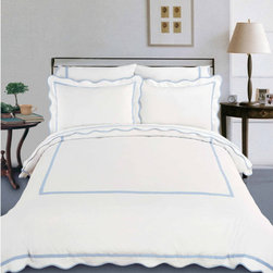 "North Home - Truffles Sheet Set in Ice Blue - The Truffles bedding collection is made of 100% Egyptian cotton 310 thread count authentic single ply yarn with pretty scallop flanges at the borders. Three beautiful and bright colors are available. The simple design and clean look of the whole set will provide you with pure calmness and comfort. Features: -Available in Queen or King sizes. -Set includes 1 flat sheet, 1 fitted sheet and 2 pillowcases. -Color: Ice blue. -Constructed of 100% Egyptian cotton. -310 thread count single ply yarn, sateen. -Refresh your bedroom decor with this modern bedding sets. -Simple design and clean. -Provides you with pure calmness and comfort. -With pretty scallop flanges at the borders. -Fitted sheet has 16"" deep pocket. -Machine washable. Specifications: -Queen flat sheet: 90"" W x 102"" L. -Queen fitted sheet: 60"" W x 80"" L plus 16"" pocket. -Queen pillow case: 20"" W x 30"" L. -King flat sheet: 110"" W x 102"" L. -King fitted sheet: 78"" W x 80"" L plus 16"" pocket. -King pillow case: 20"" W x 40"" L."