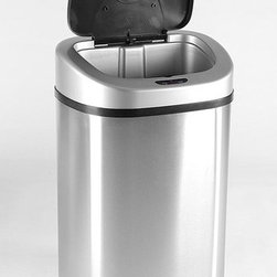 "Nine Stars - 21.1 Gallon Stainless Steel Motion Sensor Trash Can - Features: -Motion sensor trash can. -ABS plastics and commercial grade stainless steel construction. -Capacity: 21.1 Gallons. -Hands free operation lid opens when in range of the sensor and closes automatically seconds later . -Eliminates touching the trash can while throwing away trash. -Ring liner to hold trash bag up and conceal trash bag inside the trash can. -Operates on 4 ""D"" batteries (not included). -Suitable for all ages. -Assembly required. -Manufacturer provides 1 year limited warranty on the mechanism of the lid."