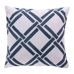 "Navy Link Pillow - 20"" x 20"" - Casually elegant in its bold patterning, the Navy Link Pillow is an outdoor safe pillow that would look stunning on a deck bench or porch swing. Made in the USA, this Navy and Cream pillow is ideal for a nautically themed beach abode or a more classic transitionally styled home."