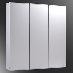 Ketcham - Ketcham 48W x 36H-in. Tri-View Recessed Medicine Cabinet - R-4836PE - Shop for Bathroom Cabinets from Hayneedle.com! Improve your bathroom with the expansive storage and modern style of the Ketcham 48W x 36H-in. Tri-View Recessed Medicine Cabinet. Cabinets from this series feature inset European hinges that pivot the door over the body to make six way door adjustment possible. A single unit features three cabinets each with its own mirrored door rubber door silencer pads and fixed metal shelves. The pan doors are constructed of 3/16-inch first quality plate glass backed by the 20-gauge white baked enamel steel which makes up the cabinet body. This Tri-View Medicine Cabinet measures 48W x 3D x 36H inches and installs directly into the wall to save space in your bathroom. Available in beveled edge polished edge and stainless steel frame mirror style options.About Fred Silver & CompanyFor the past 40 years Fred Silver & Company has manufactured goods under the Ketcham name and in that time the brand has become a leading producer in superior quality affordable medicine cabinets. Based out of Ronkonkoma New York but respected from coast to coast Ketcham is an American company that's taken the nation by storm. Good word of mouth has made Ketcham the go-to choice for architects remodelers and property managers. Even everyday customers are paying close attention to these fine cabinets that are made to last and to fit the budget of the average family. Ketcham prides itself on offering an expansive selection made from the best materials backed by a staff that's always available to answer inquiries regarding sales and installation.