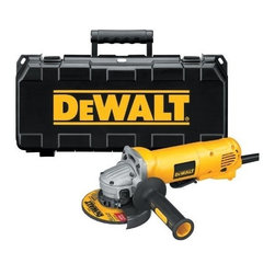 """Dewalt - 4.5"""" Angle Grinder 10Amp W/Case - Dust ejection system through the air intake vents, low profile,one-piece brush arm, QuickChange wheel release allows wheel removal without need for a wrench, keyless adjustable guard, vibration reducing side handle, auto off brushes shut the tool down whe  n the brushes need replacing to avoid tool damage, oversized, protected spindle lock button, paddle switch with safety lock-off prevents accidental start up, matching wheel flanges. Specs: max watts out 1,200W, HP 1.6hp, no load speed 11,000 RPM, use whee  ls RPM above 11,000 RPM, spindle thread 5/8""""-11, paddle switch w/lock-on, dust ejection system, tool-free flange system, length 11-1/4"""", weight 4.6 lbs. Includes: two position side handle, depressed center wheel, keyless adjustable guard, w  rench, kit box.        This item cannot be shipped to APO/FPO addresses.  Please accept our apologies"""