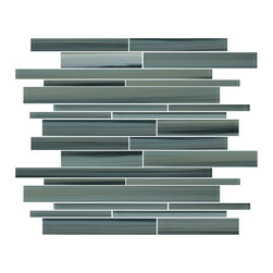 """Rocky Point Tile - Beach Break Linear Glass Mosaic Tiles, 4"""" X 6"""" Sample - Introducing our new Beach Break linear glass mosaic tiles. A mix of aqua blue grays and green grays interlaced with brush strokes of ocher and black. An easy to work mix that blends in seamlessly with so many of todays popular wall colors and cabinetry due to the unlimited variety of colors in this tile."""