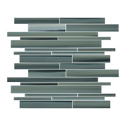Rocky Point Tile - Beach Break Linear Glass Mosaic Tiles - Go with an ultra-modern color palette of blue and green grays for your next tile project. The cool colors are perfect for a sophisticated kitchen or bathroom as they complement plenty of wood finishes and cabinet colors. Measure your space and order by sheets of 10-square feet or start by simply ordering up a sample.