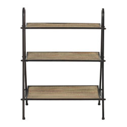 Safavieh - Oswald Etagere - Embrace all three layers of vintage modern French style with the Oswald Etagere. Crafted from solid fir wood with a natural finish and reclaimed look, and contrasted with iron brushed in black, it's an ideal spot for your best volumes and treasures waiting to be displayed.