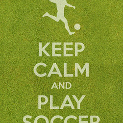"Keep Calm Collection - 'Keep Calm and Play Soccer' Art Print, Grass Texture - High-quality art print on heavyweight natural white matte fine art paper. Produced using archival quality inks giving the print a vivid and sharp appearance. Custom trimmed with 1"" border for framing."