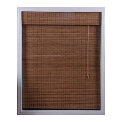 None - Ginger Bamboo 74-inch Long Roman Shade - Distinguish your home or office with these ginger Roman shades of natural bambooRoman blinds filter light in a way that is warm and appealingWindow treatment is made with real bamboo and other environmentally friendly materials