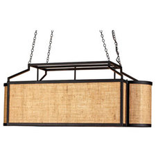 Wiggins Rectangular Chandelier - Black & Natural Burlap