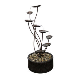 Alpine Fountains - Metal Tiering Leaf Fountain - Made of Iron. 1 Year Limited Warranty. Assembly Required. Overall Dimensions: 19 in. L x 19 in. W x 45 in. H (9.48 lbs)These metallic fountains are durable yet have an elegant look. The fountain cascades down into a basin of assorted stones. They can be placed indoors or out.