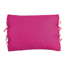 KOKO - Reversible Pillow, Red/Fuchsia - It's easy to love both sides of this pillow. Whether you go for the fuchsia or red side, the little red ties will add just the right amount of whimsy. It's a perfect punch of color for a bed.