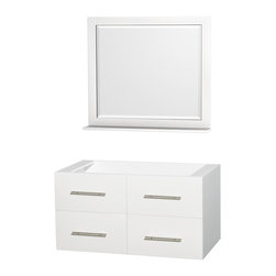 "Wyndham Collection - Centra 42"" Single Bathroom Vanity in White, No Countertop, No Sink - Simplicity and elegance combine in the perfect lines of the Centra vanity by the Wyndham Collection. If cutting-edge contemporary design is your style then the Centra vanity is for you - modern, chic and built to last a lifetime. Available with green glass, pure white man-made stone, ivory marble or white carrera marble counters, with stunning vessel or undermount sink(s) and matching mirror(s). Featuring soft close door hinges, drawer glides, and meticulously finished with brushed chrome hardware. The attention to detail on this beautiful vanity is second to none."