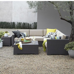 Ventura Modular Right Arm Love Seat with Sunbrella Stone Cushions, Ventura - I love the comfort of a sectional outdoors. Deep seats and plush pillows are a must for relaxation.