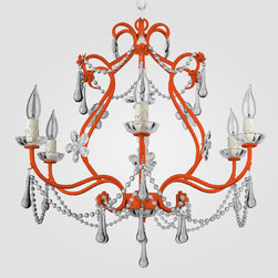 Sonja Neon Orange Clear Crystal Chandelier - I have an orange chandelier in my living room that I spray painted, but I would buy this orange and crystal beauty in a heartbeat!