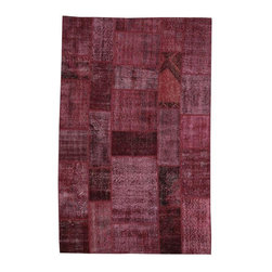 """Pre-owned Burgundy Overdyed Turkish Patchwork Carpet - Traditional Turkish patterns from an assortment of vintage pieces mix to make this hand made, naturally distressed vintage rug. Full cotton backing and decorative blanket stitch edging.     Remnants of vintage wool on a cotton warp, made entirely by hand in the '60's through '80's when Turkish women still included weaving in their daily homemaking chores. Employing the sturdy double knot technique unique to Turkish rugs, multicolor floral and medallion motifs were created a row at a time using bright hand dyed wools. Considered too old fashioned for modern Turkish homes in their traditional incarnations, these rugs have languished in back rooms of the bazaars‰Ű_until now, as these fragments in excellent condition are overdyed and combined to create modern patchwork statements for the floor.    Note from the seller: """"Our revitalization process keeps rugs that may otherwise get tossed out of landfill. Repurposed discards are helping artisans connect and create, supporting the community we're building here in Istanbul to revive vanishing traditional fiber crafts.‰Űť    Please note that all sales are final - These amazing rugs are coming direct from Istanbul, Turkey and returns will not be allowed."""