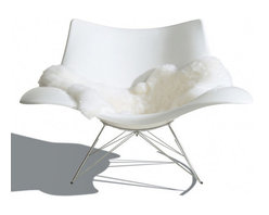 Fredericia Furniture - Stingray Rocker - For those about to rock, this stunning, shell-inspired chair welcomes you. Raw on the outside, smooth inside and ready for a relaxing sit, this comfy, curvy chair designed by Thomas Pedersen is a fresh take on a classic piece.