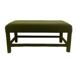Pre-owned Green Velvet Parsons Bench - At the foot of your bed, an entry, or in the living room, this lovely hunter green velvet parsons bench will add a touch of class. It has a small stain on the top, but it is hardly noticeable.