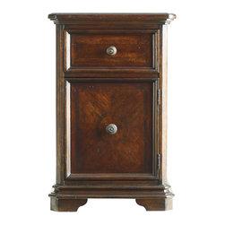 Stanley Furniture - Continental Bedroom Telephone Table - Exquisite wood veneers adorn the Telephone Table's door front in the Barrel finish. One drawer, one door. Cross grain, quartered walnut inlay available in the Barrel finish. Made to order in America.
